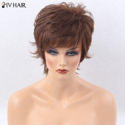 Siv Hair Side Bang Short Shaggy Layered Tail Upwards Straight Human Hair Wig - LIGHT BROWN