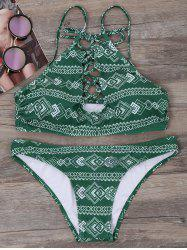 Geometric Print Lace Up Bikini Set