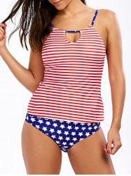 American Flag High Neck Patriotic Tankini Set