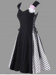 Flower Embellished Lace Up Retro Polka Dot Dress - BLACK