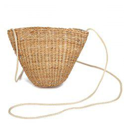 Woven Straw Cross Body Bag - WHITE
