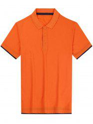 Short Sleeve Color Block Panel Basic Polo Shirt
