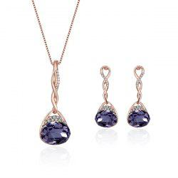 Faux Amethyst Rhinestone Oval Jewelry Set
