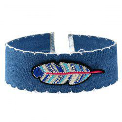 Feather Embroidery Denim Choker Necklace