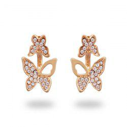 Rhinestone Alloy Butterfly Tiny Ear Jackets