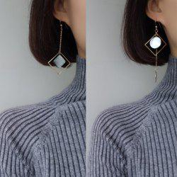 Metal Geometric Disc Asymmetric Chain Earrings