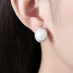 Faux Pearl Rhinestone Tiny Stud Earrings