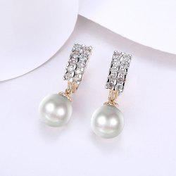 Faux Pearl Rhinestone Drop Hoop Earrings