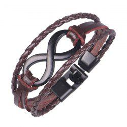 Artificial Leather Rope Braid Infinite Bracelet - BROWN