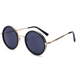 Retro Round Polarized Metallic Frame Sunglasses - BLACK