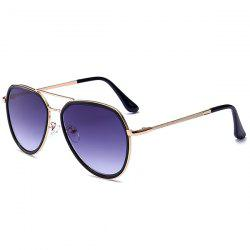 Double Metallic Crossbar UV Protection Polit Sunglasses - GOLD FRAME+GREY LENS