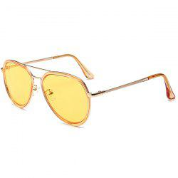 Metal Frame Reflective Mirror Pilot Sunglasses - YELLOW