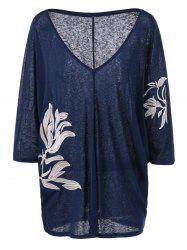 Heather Plus Size Embroidery V Neck T-Shirt