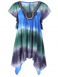 Embellished Asymmetrical Tie Dye Plus Size Blouse - COLORMIX