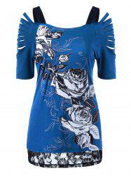 Lace Trim Ripped Floral T-Shirt - BLUE