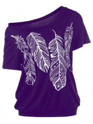 Skew Collar Feather Print T-Shirt