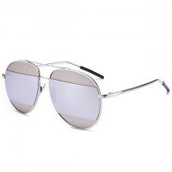 Anti UV Two-Tone Spliced Mirrored Sunglasses - SILVER FRAME + WHITE LENS