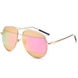 Anti UV Two-Tone Spliced Mirrored Sunglasses - SUEDE ROSE