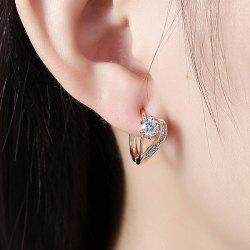 Rhinestone Alloy Heart Hoop Earrings