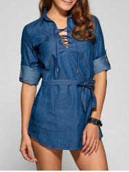 Front Lace Up Casual Denim Mini Dress - DENIM BLUE
