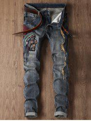 Ripped Tribal Embroidery Design Cuffed Jeans