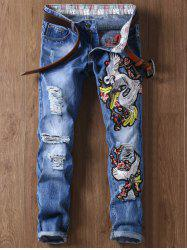 Crane Embroidery Cuffed Ripped Jeans - BLUE