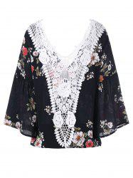 Floral Lace Trim Flare Sleeve Blouse