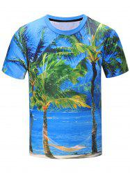 Short Sleeve 3D Coconut Tree Landscape Print T-Shirt - COLORMIX