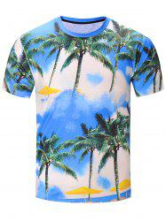 3D Coconut Tree Print Hawaiian T-Shirt