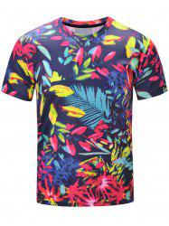 Short Sleeve 3D Florals and Leopard Print T-Shirt - COLORMIX