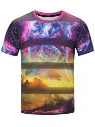 Short Sleeve 3D Galaxy Stripe Print T-Shirt