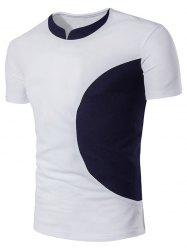 Color Block Curve Panel Short Sleeve T-Shirt