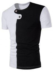 Color Block Panel Button Embellished T-Shirt