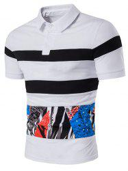 Color Block Splatter Paint Print Stripe Panel Polo T-Shirt