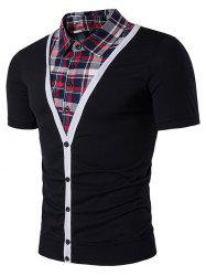 Plaid Shirt Faux Twinset Panel Single Breasted T-Shirt