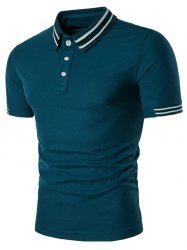 Short Sleeve Varsity Stripe Panel Polo Shirt