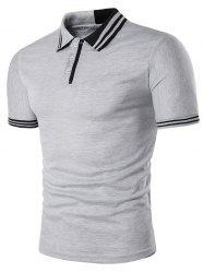 Short Sleeve Color Block Stripe Panel Polo T-Shirt