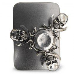 Finger Gyro Stress Relief Toy Skull Fidget Spinner - SILVER AND GREY