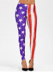 American Flag Mid Waist Leggings -