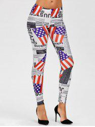 Mid Waist Graphic American Flag Leggings - COLORMIX