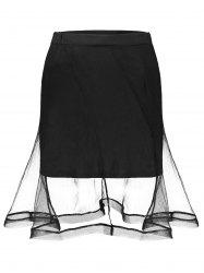 Mesh Insert High Waist Mini Skirt