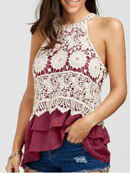 Layered Crochet Panel Flounce Top