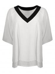 V Neck Raglan Sleeve Chiffon Top