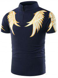 Winged Print Half Zip Short Sleeve T-Shirt