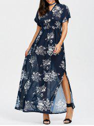 Floral Split Empire Waist Chiffon Long Dress
