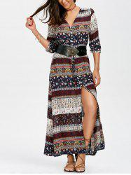 Button Up High Split Drawstring Maxi Dress - MULTI