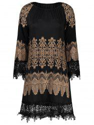 Tribal Print Lace Insert Mini Shift Dress