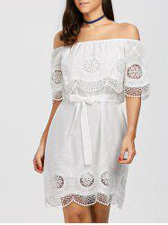 Off The Shoulder Lace Trim Scalloped Dress -