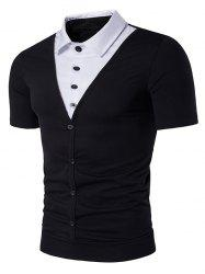 Shirt Faux Twinset Panel Single Breasted T-Shirt