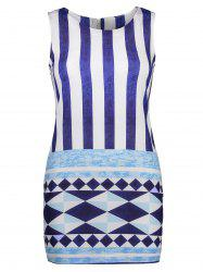 Sleeveless Striped Geometric Print Dress